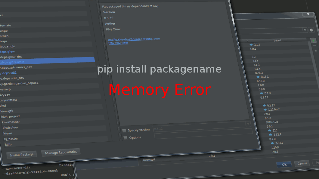 Memory Error on pip install (SOLVED) | chirale
